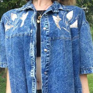 Vintage blue sapphire denim shirt 1980s/1990s